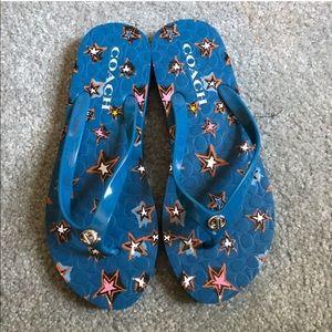 COACH Blue Star Flip Flops